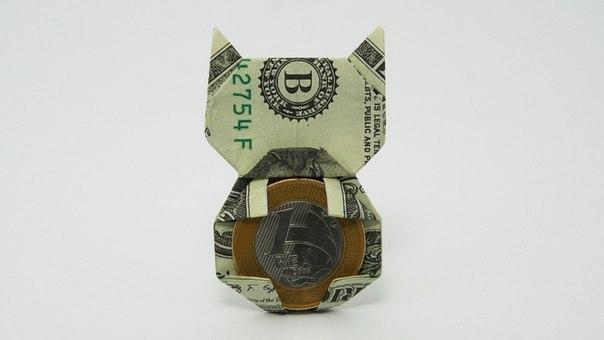 Как сделать кошку из денег