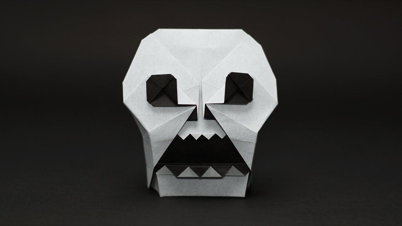 череп из бумаги схема